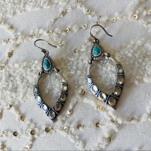 Lucky teal and silver drop earrings